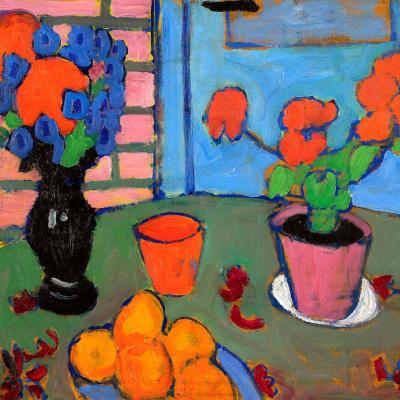 Натюрморт с цветами и апельсинами