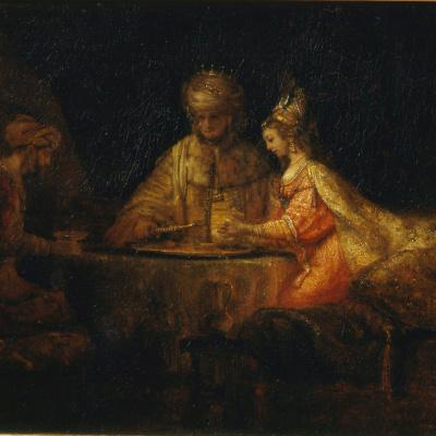 Ahasveros en Haman aan het feestmaal van Esther