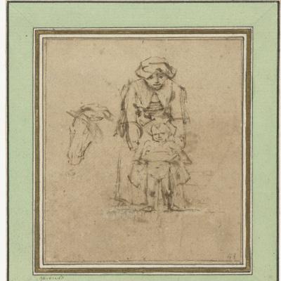Женщина с писающим мальчиком и голова лошади