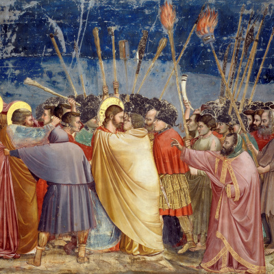 Taking Christ in custody (The Kiss of Judah). Scenes from the life of Christ