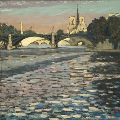 Париж. Вид на мосты острова Сен-Луи 70х70 х. м. 2013