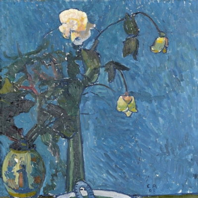 Cuno Amiè. Still life with white roses on a blue background