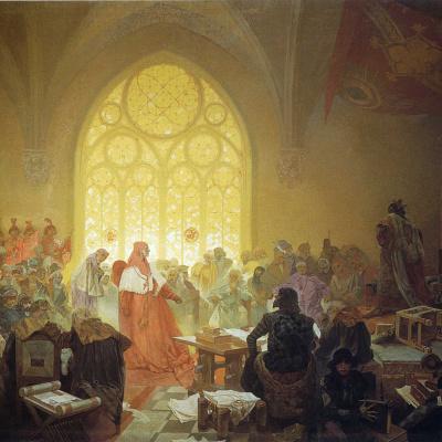 The Hussite king Jiri Podebradsky. The cycle the Slav epic
