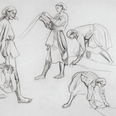 "The four female figures. Sketches for painting ""canvas Whitening"""