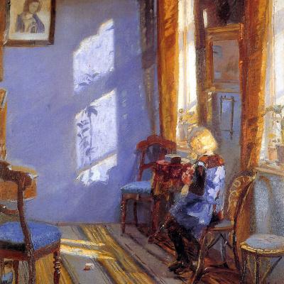 Солнечный свет в синей комнате