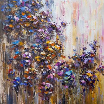 (no name). Flowers. Blue