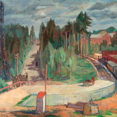 Forest landscape with train station
