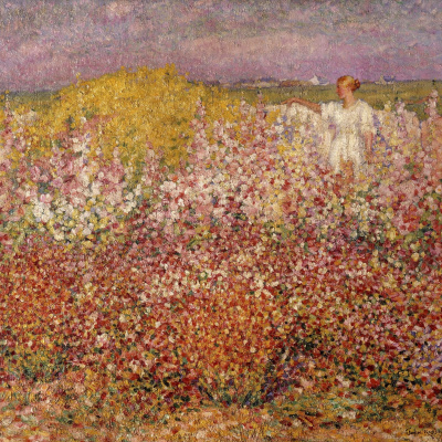Mrs Russell among the flowers in the garden of Goulphar, Belle-Île