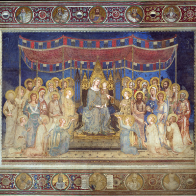 Маэста, Мадонна на троне как патронесса города, окруженная святыми, фреска в Палаццо Пубблико в Сиене