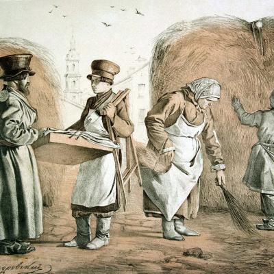 Street pedlar of pies and cabman