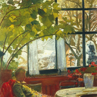 Interior with seated Mrs. Amie