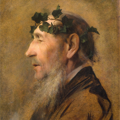 """An elderly man wearing a wreath of ivy (Study for """"pan comforting psyche"""")"""