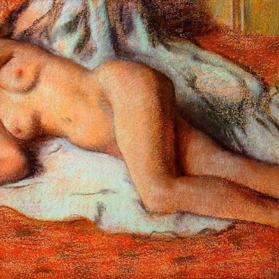 After a bath. Reclining Nude
