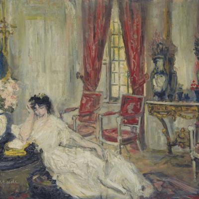 Жена художника в гостинной