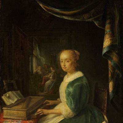 Молодая дама за вирджиналом