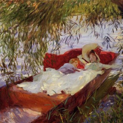Two women asleep in a boat under the willows