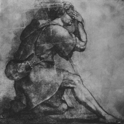 Raphael Sanzio. Kneeling Moses. Sketch for song: God appears to Moses in the Burning Bush