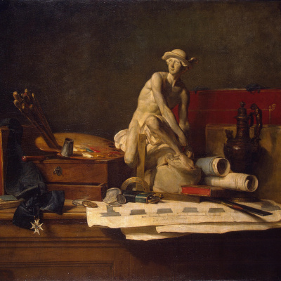 Still life with attributes of the arts