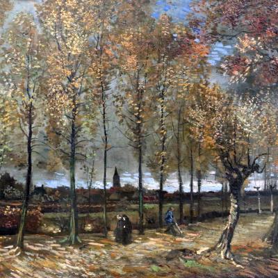 Аллея тополей близ Нюэнена осенью