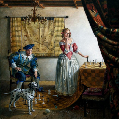 Mikhail Khokhlochev. Portrait of Mr. and Mrs. Paul Casse in the interior of Vermeer