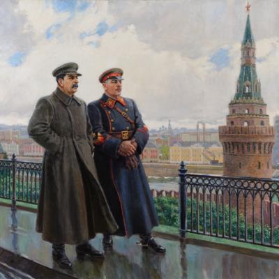 Stalin and Voroshilov in the Kremlin.