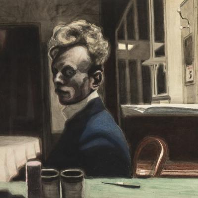 1908_Автопортрет (Self-portrait, 3 November)_49,7 x 65_бумага, тушь, акварель и цветные мелки