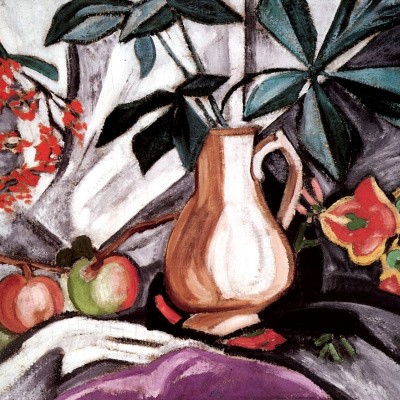 Still-life with a jug and apples