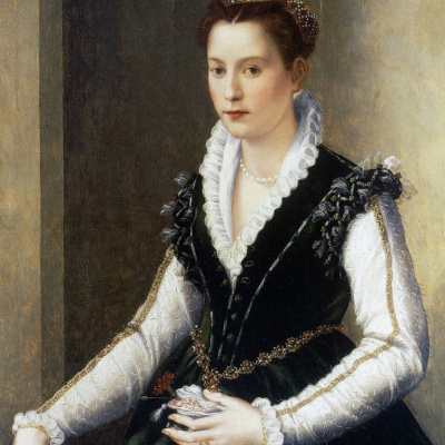 Portrait of a noble lady with the dog