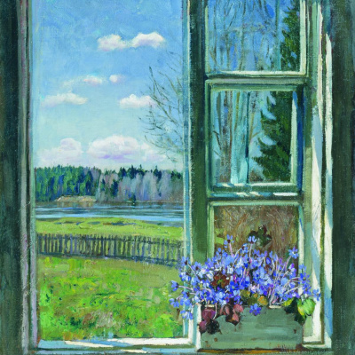 Window with violets