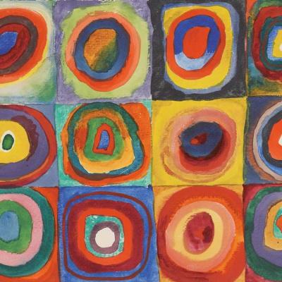 Цветной экскиз: Квадраты с концентрическими кругами