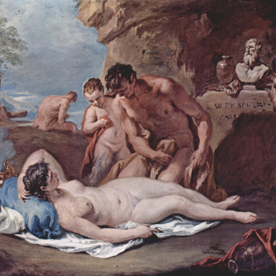 Sleeping nymph and two satyrs