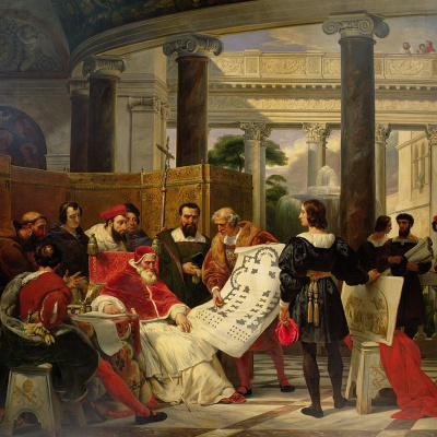Pope Julius II ordering Bramante, Michelangelo and Raphael to construct the Vatican and St. Peters