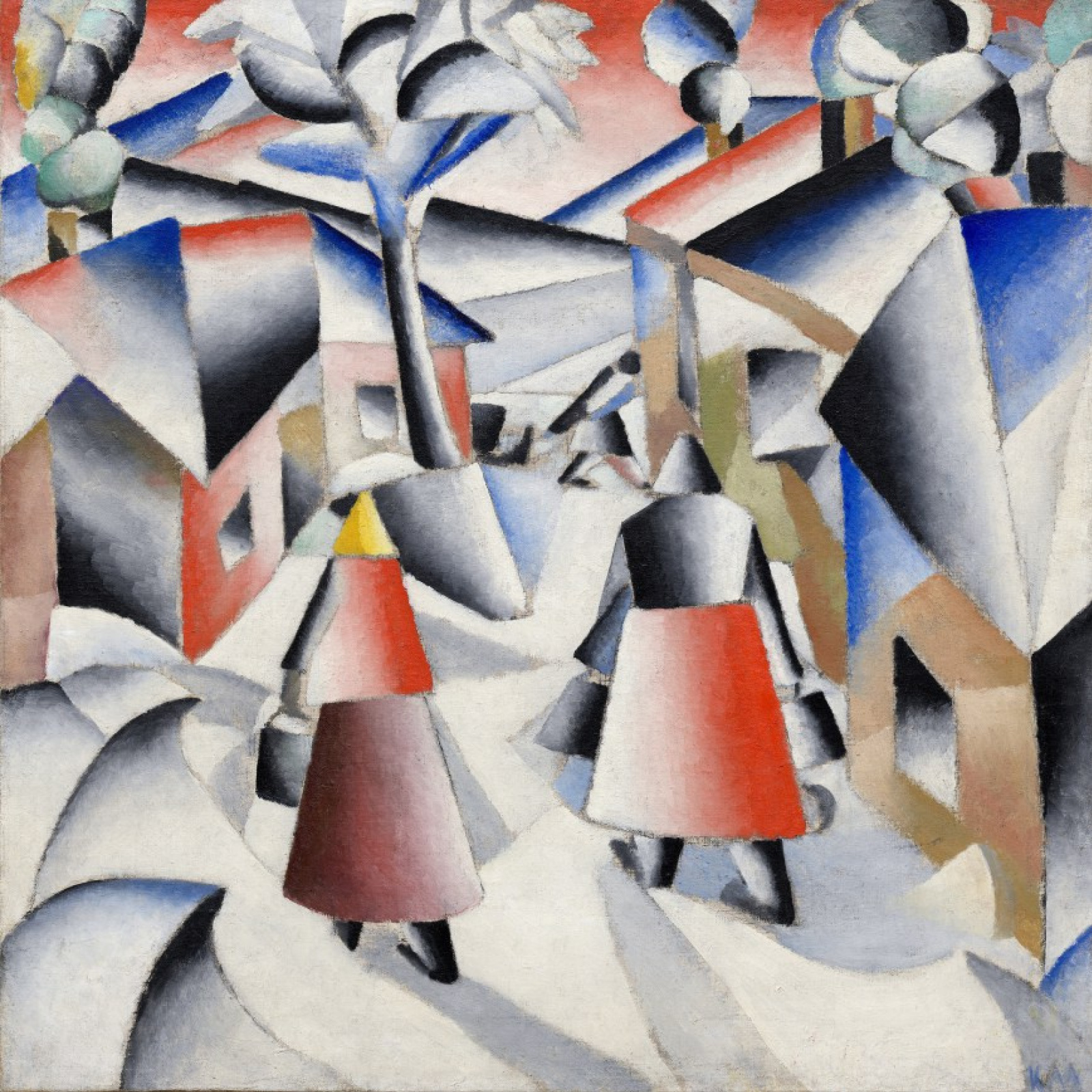 Kazimir Malevich. The morning after a blizzard in the village