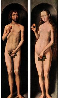 Малый триптих Святого Иоанна Крестителя. Боковые панели, внешняя сторона: Адам и Ева