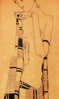 Girl standing, wrapped in a blanket