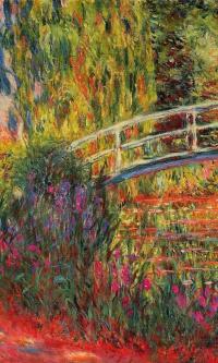 Японский мостик (Пруд с водяными лилиями, ирисы)