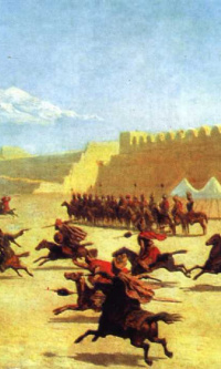 Trick riding of Kurds and Tatars in front of the fortress Sardar-Abbat in Armenia. 1840s