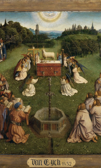 The Ghent altarpiece. The worship of the lamb (detail)
