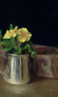 Silver Cup with primroses