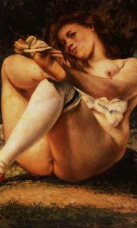 Женщина в белых чулках