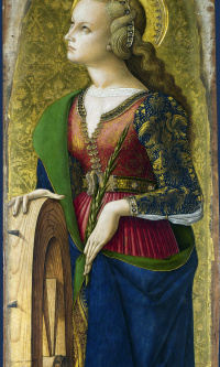 Saint Catherine Of Alexandria. The Central altar of San Domenico in Ascoli. Fragment