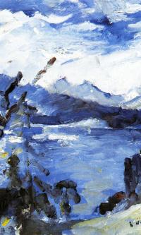 Озеро Вальхен с горной грядой на горизонте и отвесным берегом