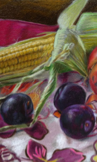 Still life with corn, plums, chestnut and pomegranate