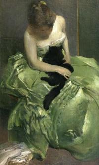 Женщина в зелёном платье