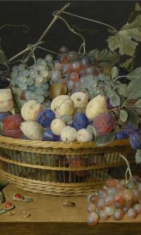 Натюрморт со сливами, виноградом и персиками в плетеной корзине, с вишнями, фундуком, жуком и бабочками