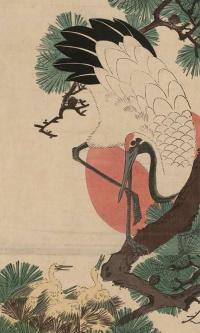 Журавль у гнезда с птенцами на ветке сосны