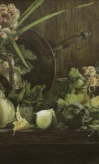 Натюрморт с кабачками и хризантемами