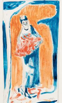 Девушка с букетом красных цветов