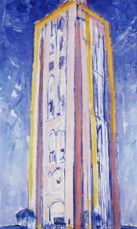 Маяк в Весткапелле в оранжевых, розовых, фиолетовых и синих тонах