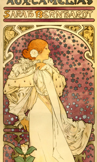The lady of the camellias. Promotional poster for Sarah Bernhardt